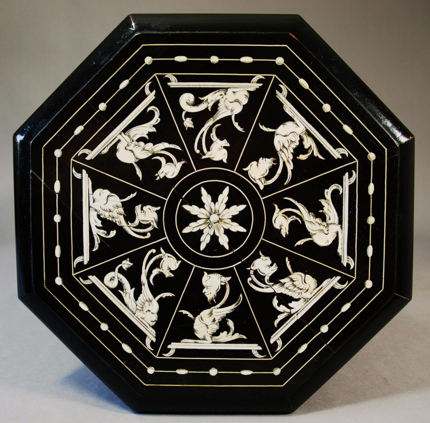 19th Italian ebonised/inlaid occasional table