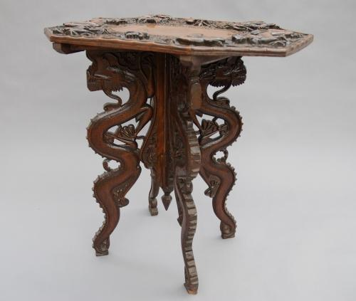 19thc Chinese carved wood occasional table