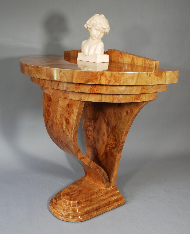 1920's Art Deco demi-lune table