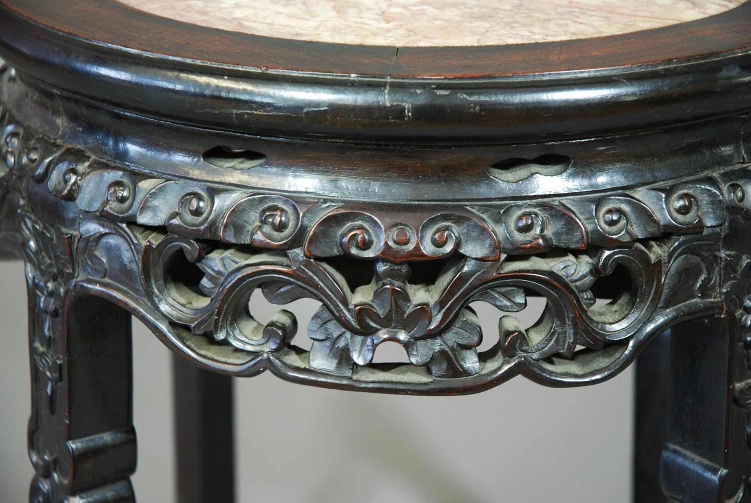 Late 19thc Chinese low table with marble top