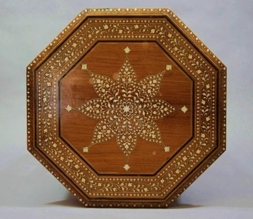 Indian hardwood & ivory inlaid table