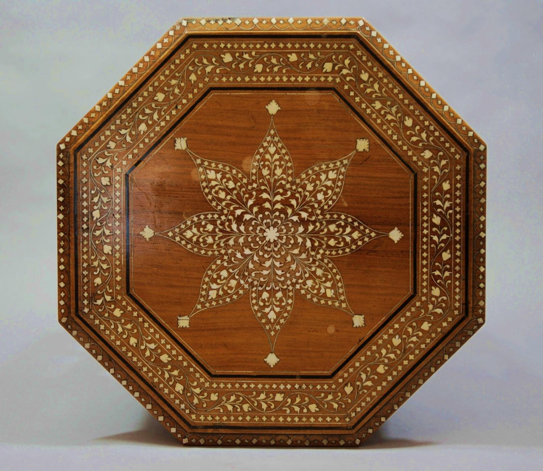 Indian hardwood & ivory inlaid table