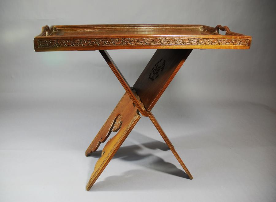 Teak Eastern folding tray top table