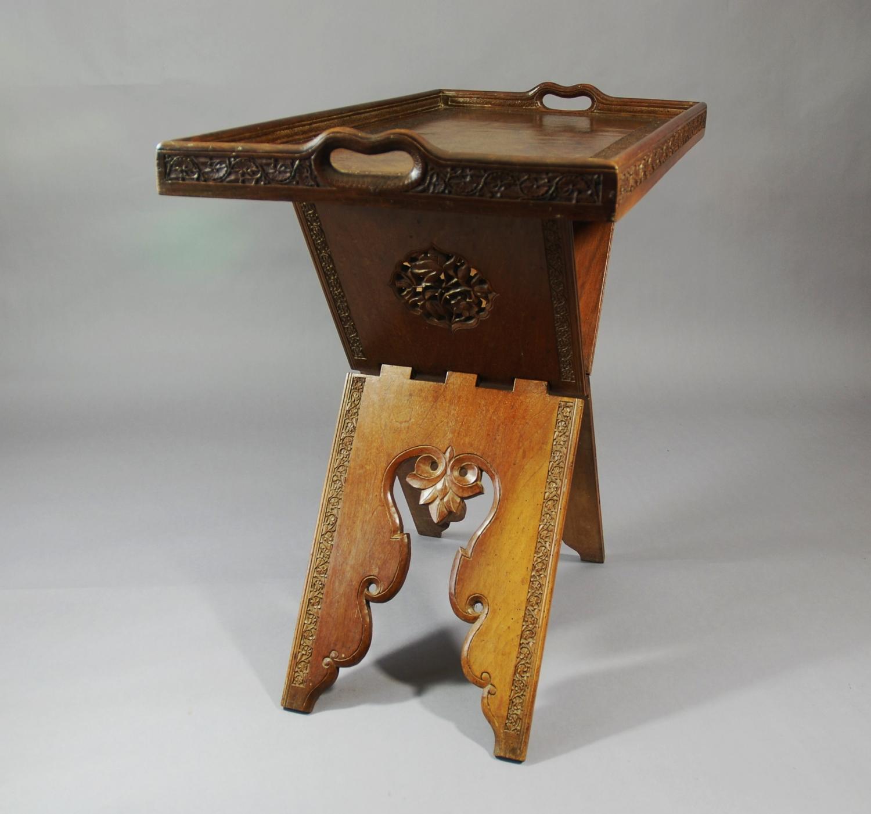 Teak Eastern folding tray top table