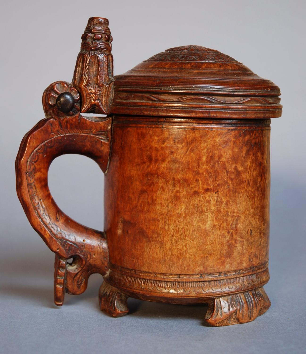 18thc Norwegian burr birch peg tankard