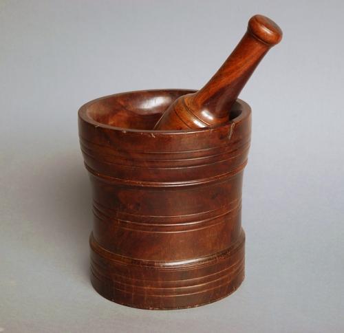 Early 18thc lignum vitae pestle & mortar
