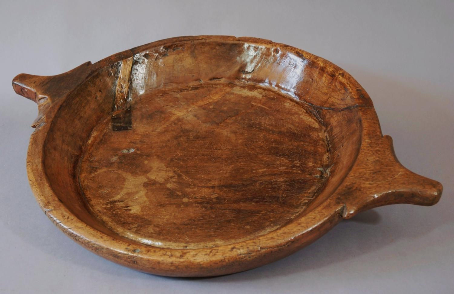 Large Continental rustic treen birch platter