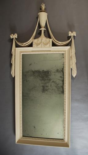 19th century pine painted pier mirror