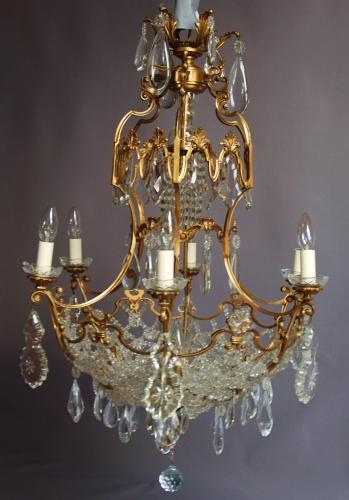 Late 19thc six branch French chandelier