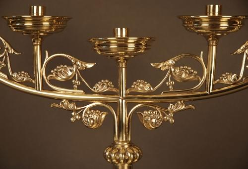 Pair Gothic style brass candlesticks