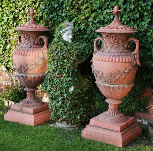 Decorative pair of terracotta composition gar