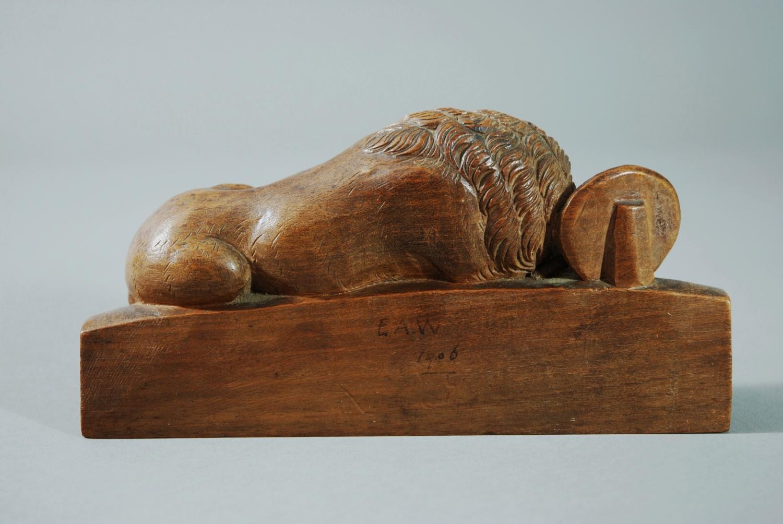 Finely carved walnut figure of lion