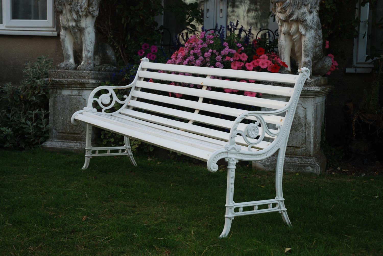 Edwardian cast iron garden bench