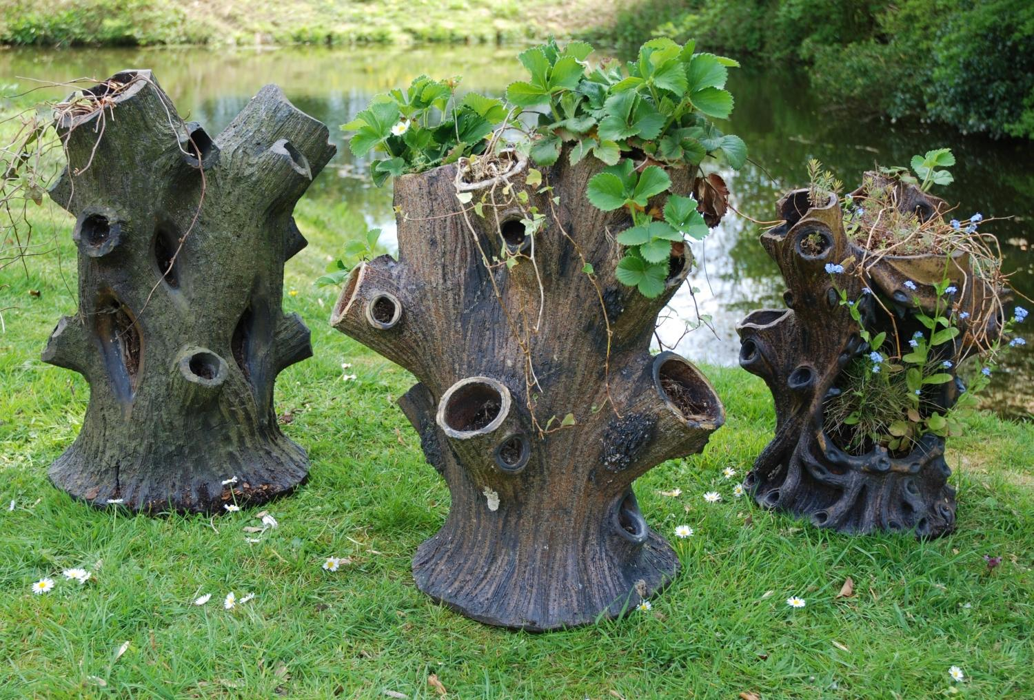 Three Salt Glaze Tree Stump Planters In Garden Furniture Urns