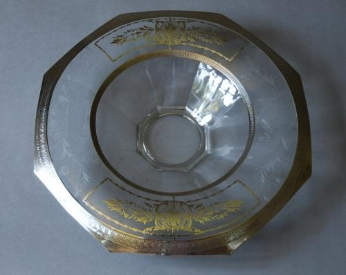 Early 20th etched glass & silvered bowl
