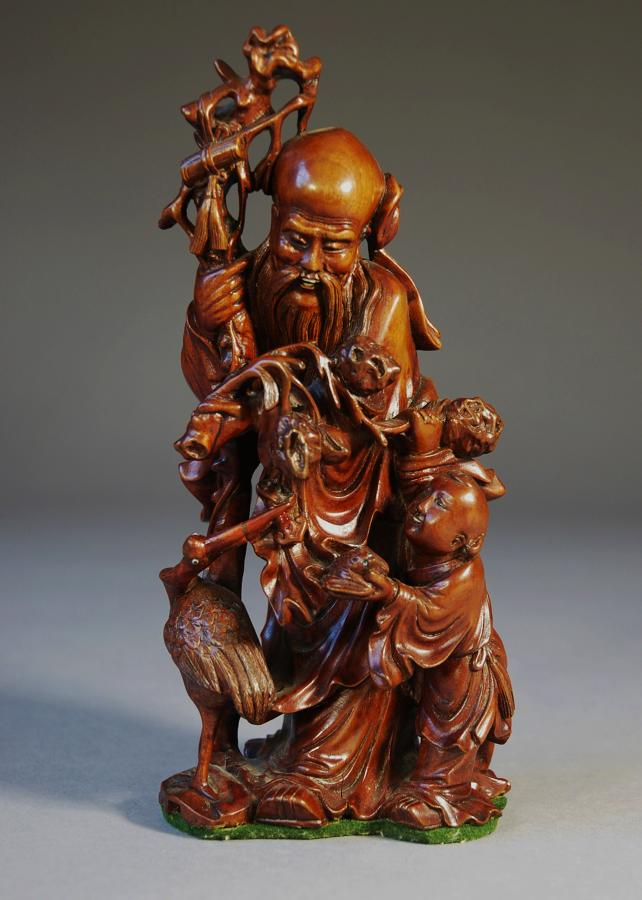 19thc finely carved Chinese root carving