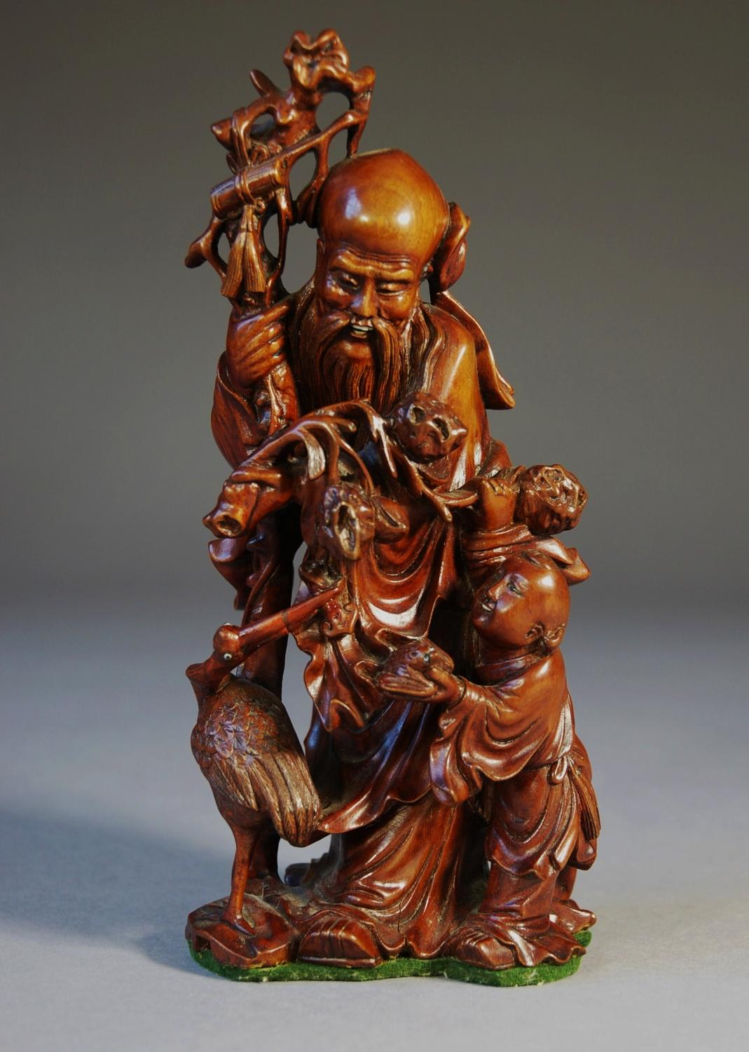 19thc Finely Carved Chinese Root Carving In Wood Carvings