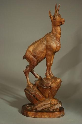 19thc Black Forest figure of an ibex