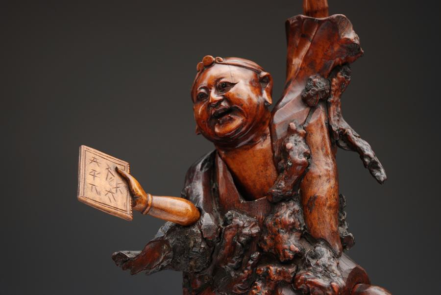 Late 19thc Japanese root wood carving