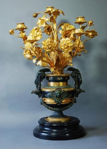 French gilt metal candelabrum