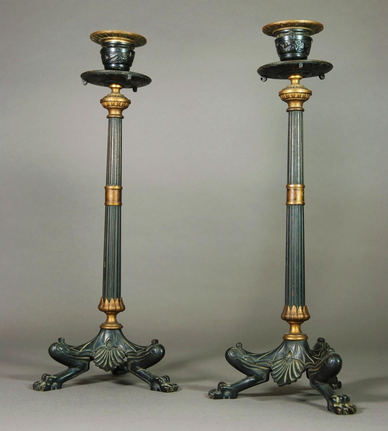 Pair of bronze & gilt Regency candlesticks
