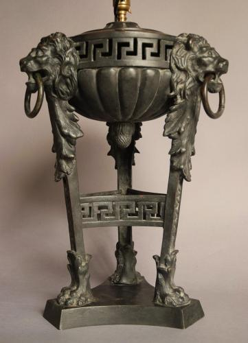 Late 19thc bronze table lamp