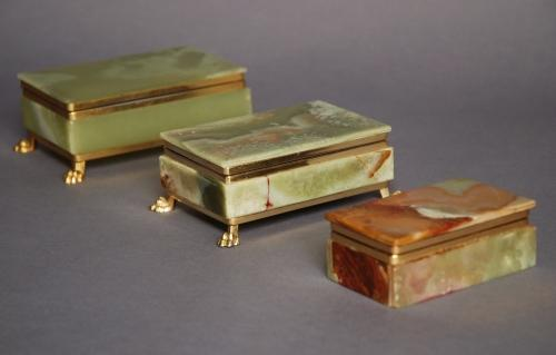 Three green onyx & gilt metal boxes