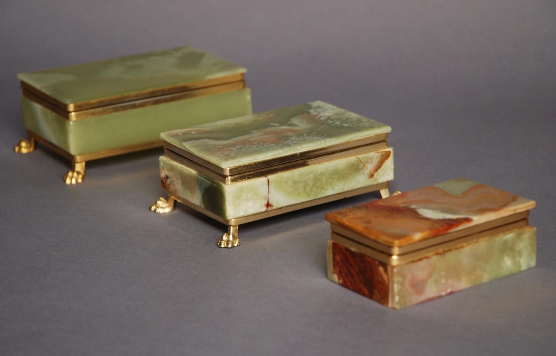 Three green onyx & gilt metal boxes