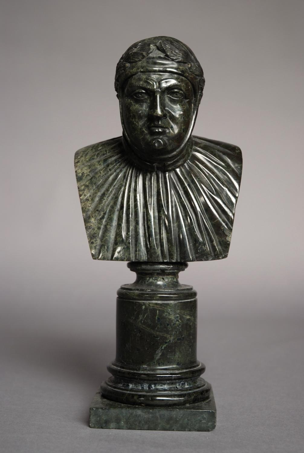 Mid 19thc Serpentine carved bust of Dante