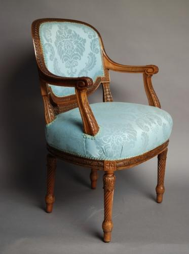 19thc French walnut open armchair