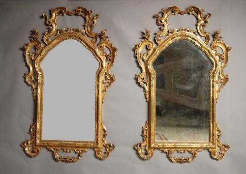 Large pair 19thc Venetian gilt wood mirrors