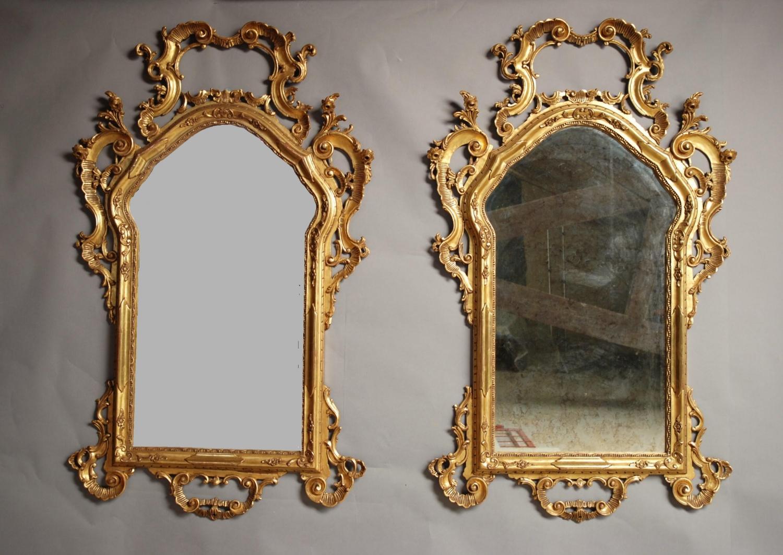 Large pair 19thc Venetian gilt wood mirrors