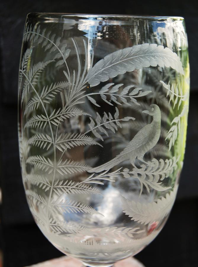Victorian engraved glass celery vase