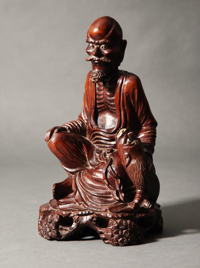 Chinese hardwood carving of emaciated man