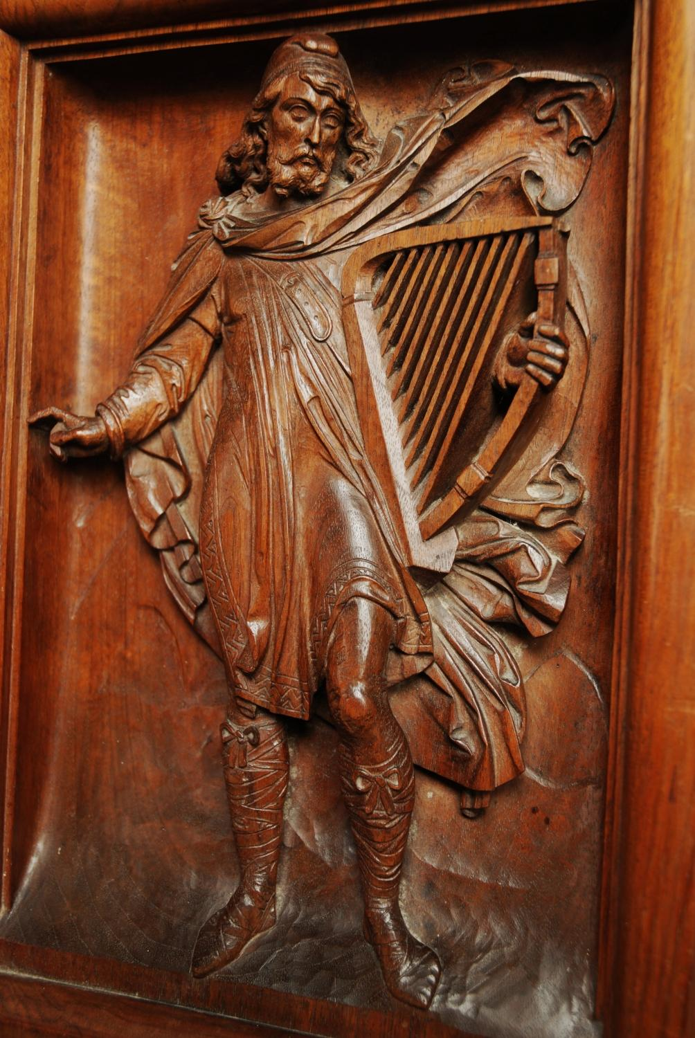 19thc Carved Walnut Panel Of Medieval Man In Wood Carvings