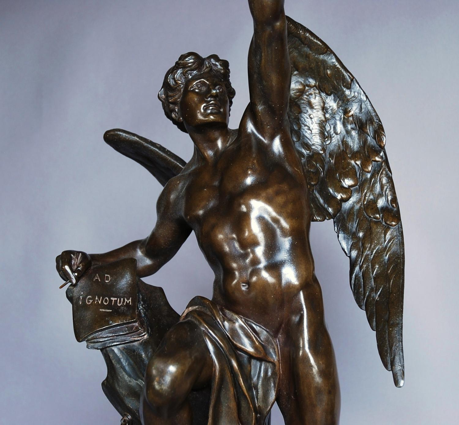 Late 19thc spelter lamp 'Le Genie Humain'