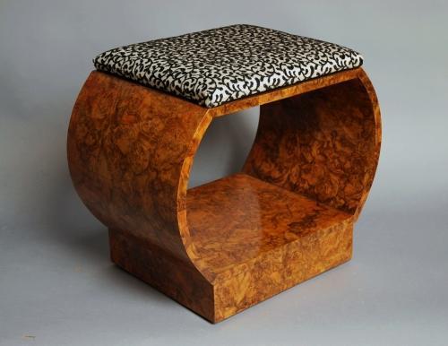 Art Deco burr walnut shaped stool
