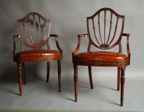Pair of mahogany Hepplewhite style armchairs