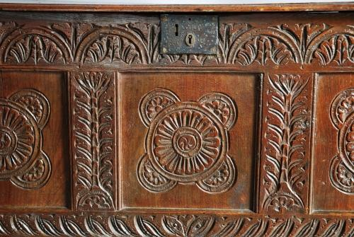 Late 17th century carved oak coffer