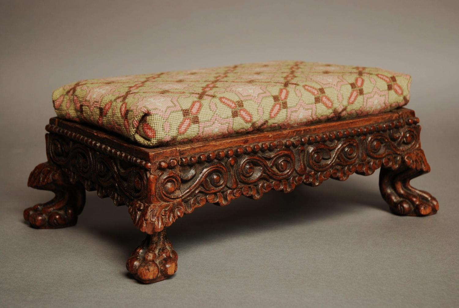 Mid/late 19thc padouk Anglo Indian footstool