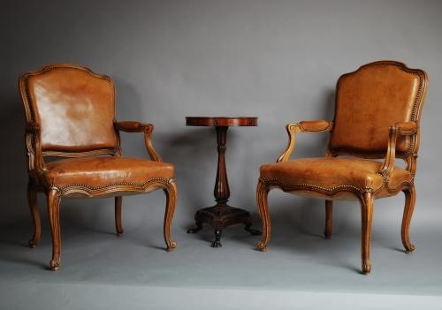 19thc French pair of leather fauteuils
