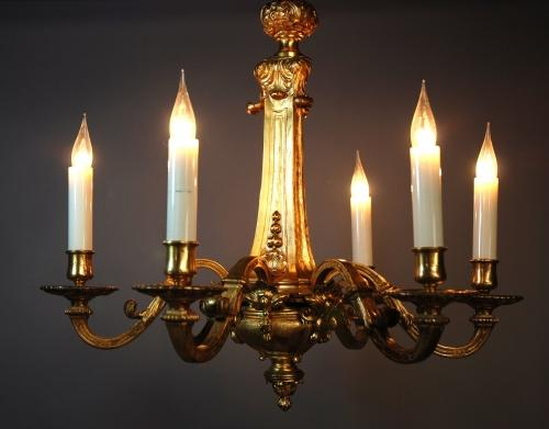 19thc French six branch ormolu chandelier