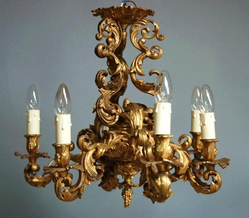 Rococo style 19thc French ormolu chandelier