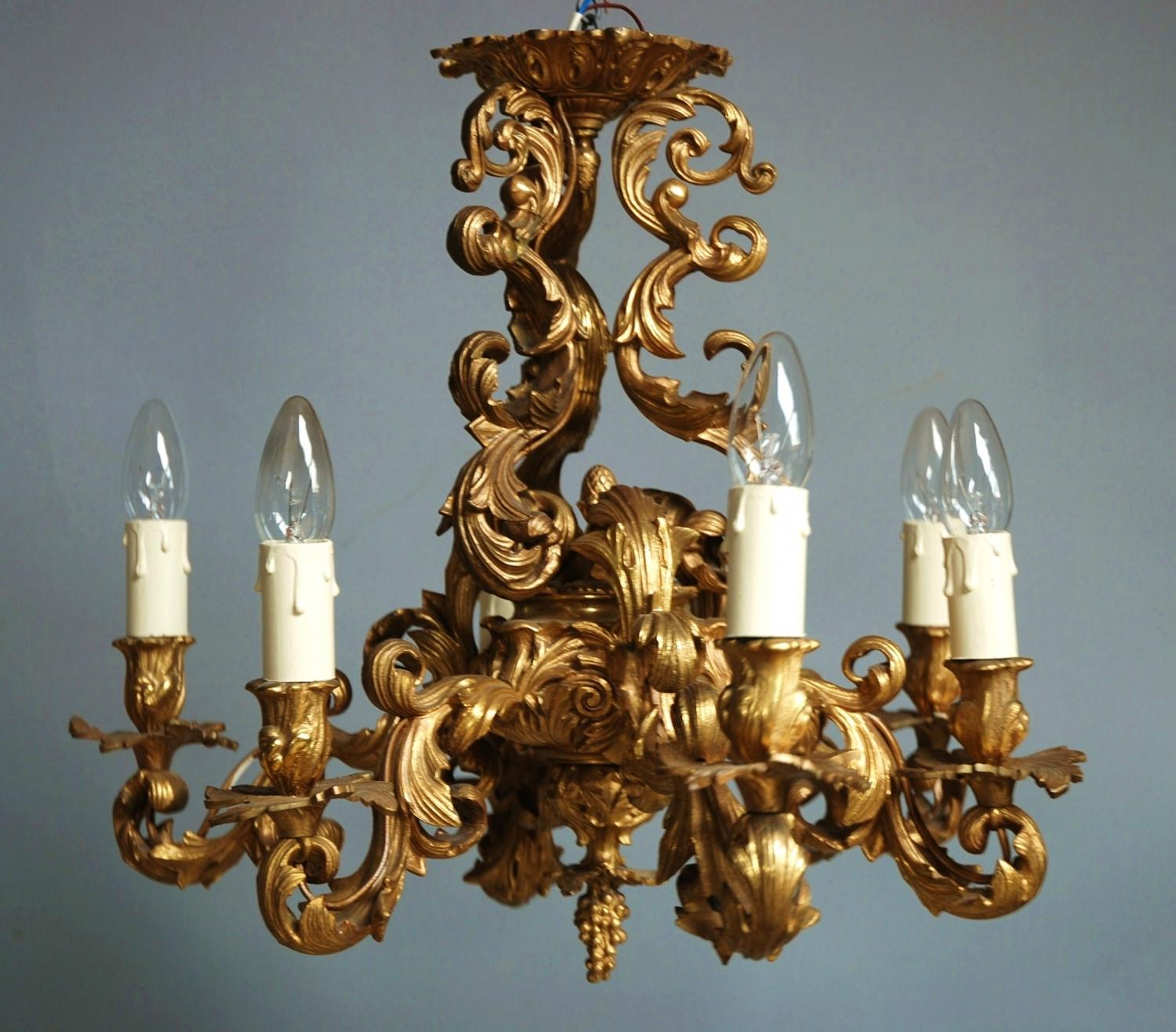 Rococo style 19thc French ormolu chandelier in SOLD ARCHIVE