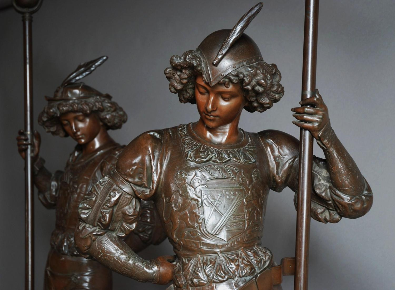 19thc large pair of superb spelter figures