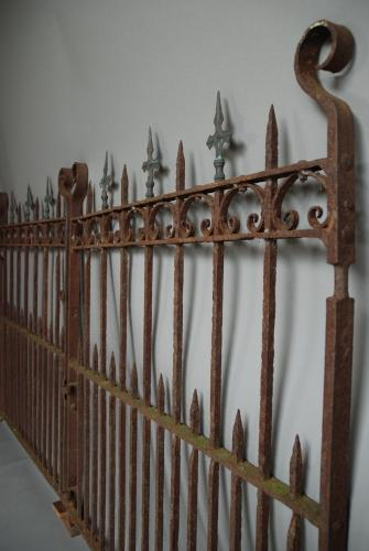 19thc pair of weathered wrought iron gates