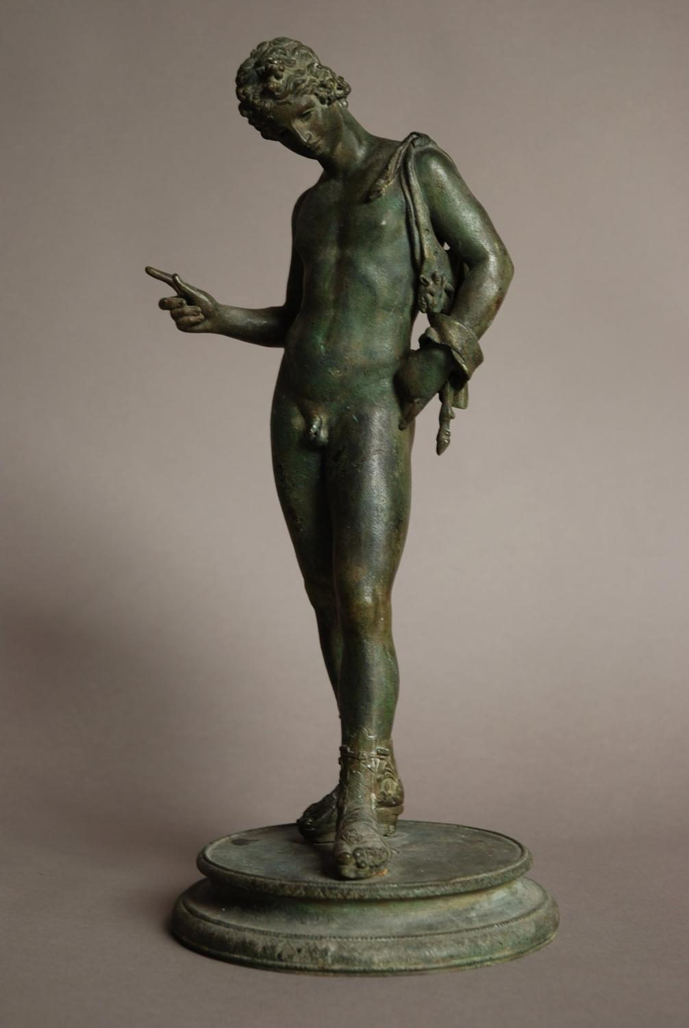 Bronze of Narcissus with green patination
