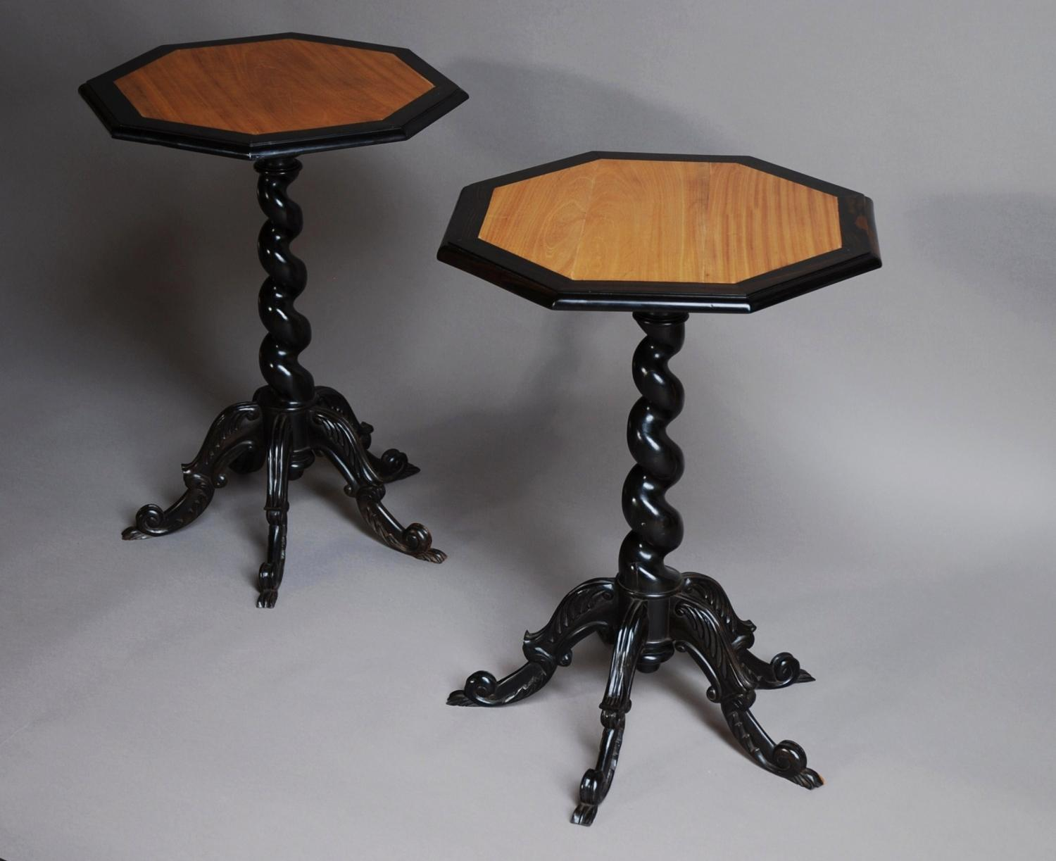 Pair of Ceylonese ebony & satinwood tables