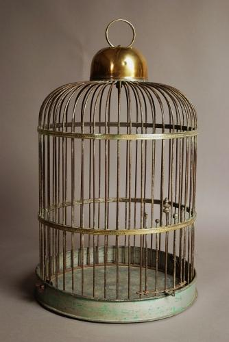 Large 19th century brass & iron bird cage