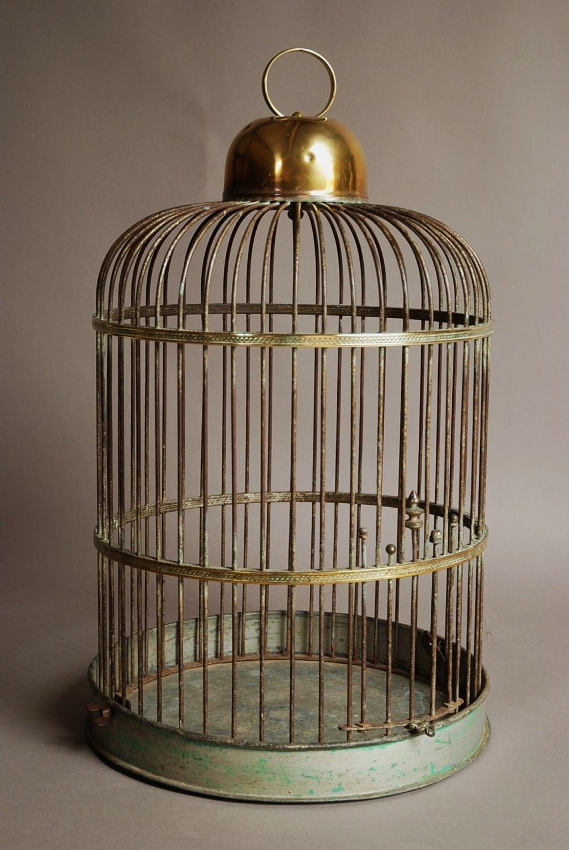 Large 19th century brass & iron bird cage